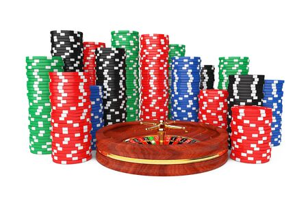 Roulette Wheel with Colorful Poker Casino Chips on a white background. 3d Rendering.