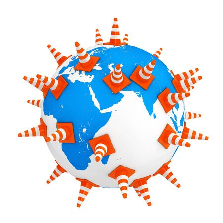 Traffic Cones over Earth Globe on a white background. 3d Rendering.