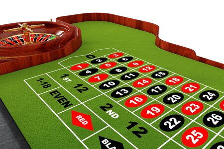Classic Casino Roulette Table on a white background. 3d Rendering. Stock Photo