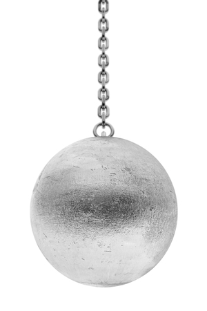 Closeup Wrecking Ball on a white background. 3d Rendering.