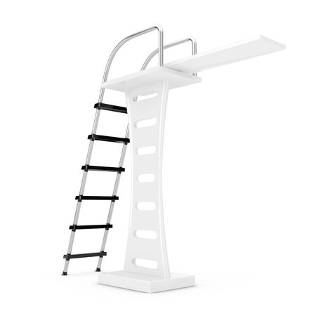 diving platform: Swimming Pool Jump Board on a white background. 3d Rendering.