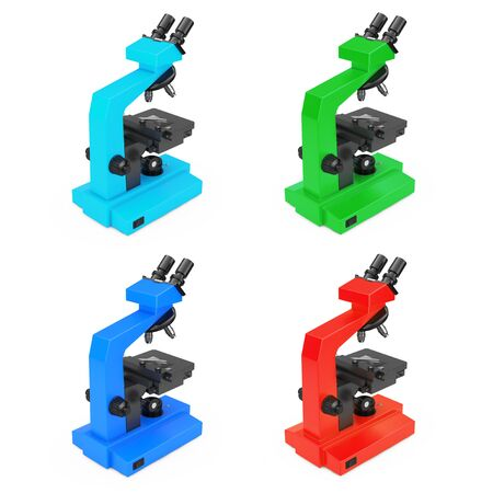 analytic: Multicolors Modern Laboratory Microscopes on a white background. 3d Rendering.