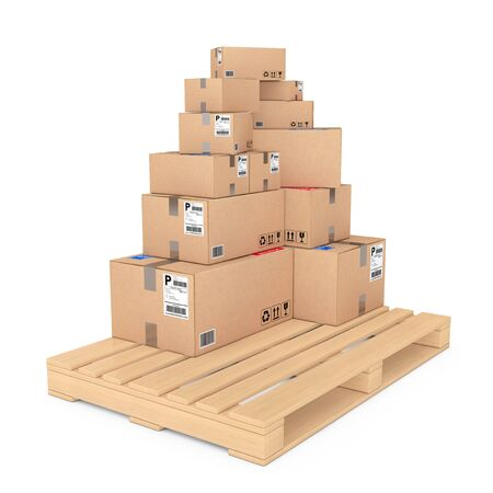 despatch: Logistics concept. Cardboard Boxes on Wooden Palette on a white background. 3d Rendering. Stock Photo