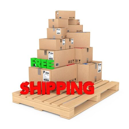 despatch: Free Shipping concept. Cardboard Boxes on Wooden Palette with Free Shipping Sign on a white background. 3d Rendering.