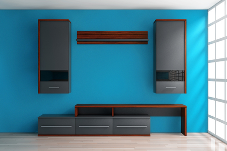 penthouse: Modern Living Room Wall Unit in Room in front of blue wall. 3d Rendering.