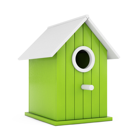 Little Wooden Olive Birdhouse on a white background. 3d Rendering. Stock Photo