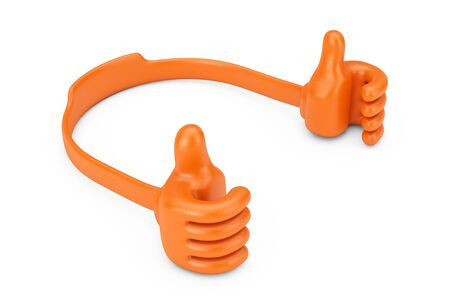 Plastic Mobile Phone Holder as Hands on a white background. 3d Rendering.  Stock Photo