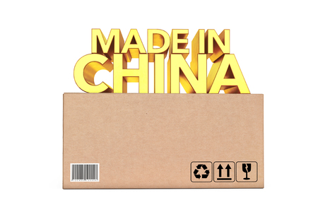 Golden Made In China Sign over Parcel Box on a white background. 3d Rendering.  Stock Photo
