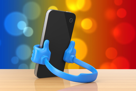 Plastic Mobile Phone Holder as Hands hold Smartphone on a wooden table. 3d Rendering.