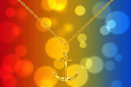 Golden Necklace with Anchor on an abstract background. 3d Rendering.