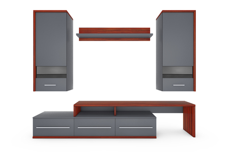 penthouse: Modern Living Room Wall Unit on a white background. 3d Rendering.