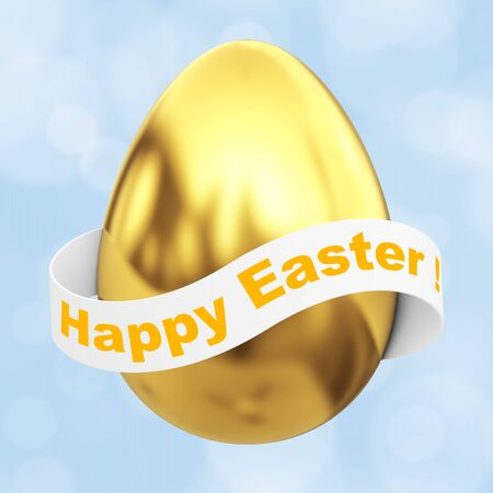 priceless: Golden Egg with Happy Easter Ribbon Sign on a blue background. 3d Rendering.
