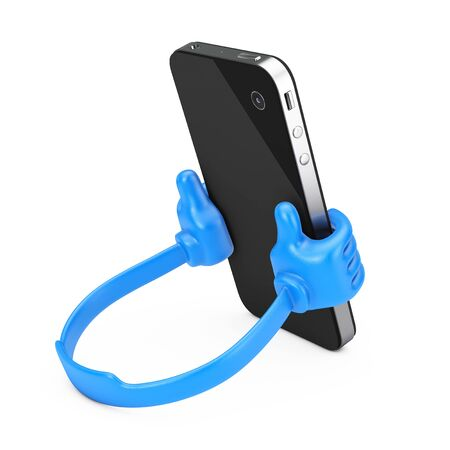 Plastic Mobile Phone Holder as Hands hold Smartphone on a white background. 3d Rendering.