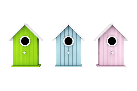 Set of Little Wooden Birdhouses on a white background. 3d Rendering.