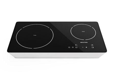 Mobile Portable Induction Cooktop Stove on a white background. 3d Rendering.