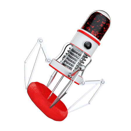 bloodstream: Blood Nano Robot with Camera, Claws and Needle over Blood Cell on a white background. 3d Rendering.