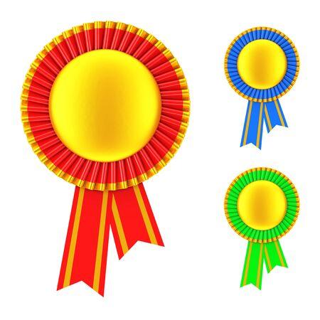 qualify: Set of Golden Blank Award Ribbon Rosette on a white background. 3d Rendering.