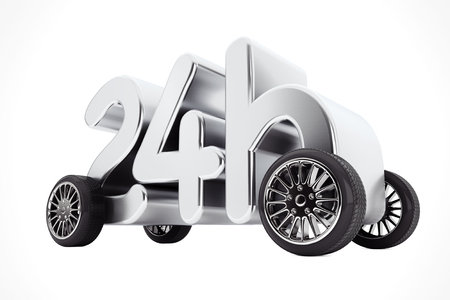 24 Hours Service and Delivery Concept on  Wheels on a white background. 3d Rendering. Stock Photo