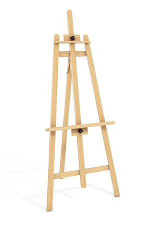 Hölzerner Künstler Staffelei auf einem weißen Hintergrund. 3D-Rendering Standard-Bild - 75222300