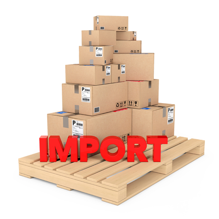 despatch: Import concept. Cardboard Boxes on Wooden Palette with Import Sign on a white background. 3d Rendering. Stock Photo