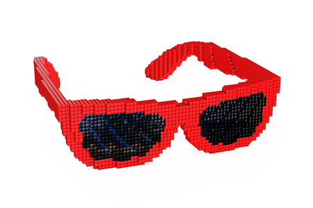 Sunglasses in Pixel Art Style on a white background. 3d Rendering.