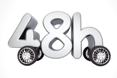 availability: 48 Hours Service and Delivery Concept on  Wheels on a white background. 3d Rendering.