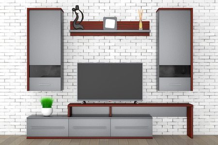 tv unit: Modern Living Room Wall Unit in front of brick wall. 3d Rendering.
