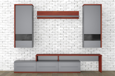 living room wall: Modern Living Room Wall Unit in front of brick wall. 3d Rendering.