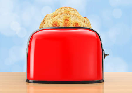 Toast popping out of Vintage Red Toaster on a wooden table. 3d Rendering.