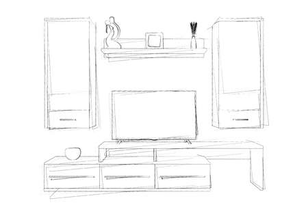 penthouse: Sketches Hand Drawing of Modern Living Room Wall Unit on a white background. 3d Rendering.