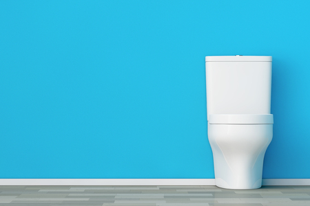 empty the bowel: White Ceramic Toilet Bowl in front of Blue Wall. 3d Rendering.