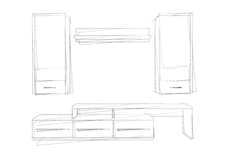 sideboard: Sketches Hand Drawing of Modern Living Room Wall Unit on a white background. 3d Rendering.
