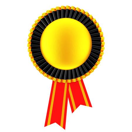 Golden Blank Award Ribbon Rosette on a white background. 3d Rendering.
