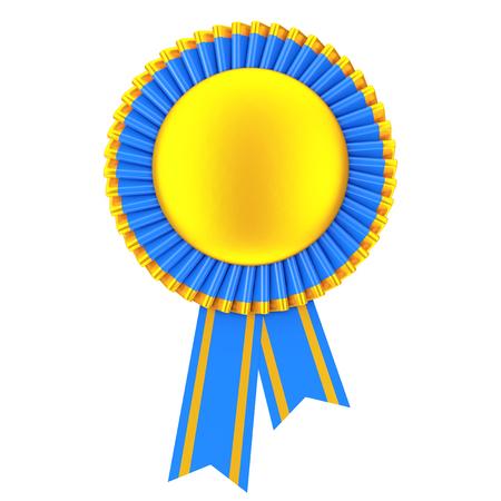 qualify: Golden Blank Award Ribbon Rosette on a white background. 3d Rendering.