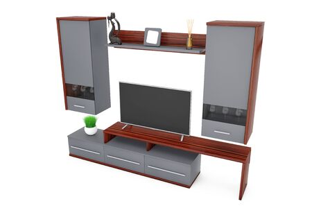 sideboard: Modern Living Room Wall Unit on a white background. 3d Rendering.