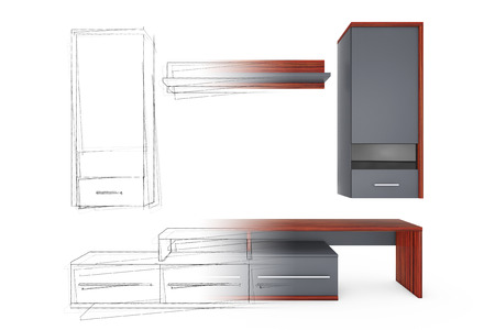 penthouse: From Sketches Hand Drawing Idea to Modern Living Room Wall Unit on a white background. 3d Rendering.