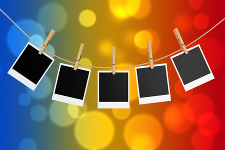 Photo Frames with Clothespins on a abstract multicolor background. 3d Rendering.