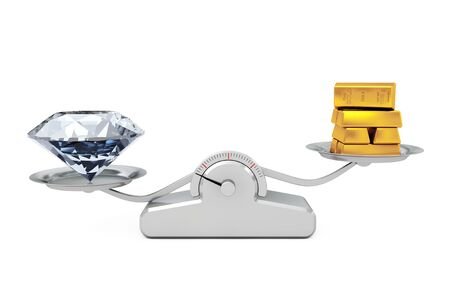 Giant Diamond with Golden Bars Balancing on a Simple Weighting Scale on a white background. 3d Rendering.  Stock Photo