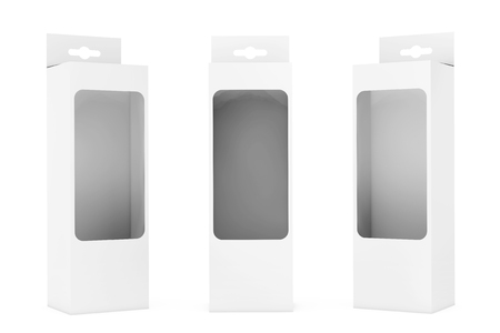 White Product Package Box With Hang Slot and Transparent Film Window on a white background. 3d Rendering.