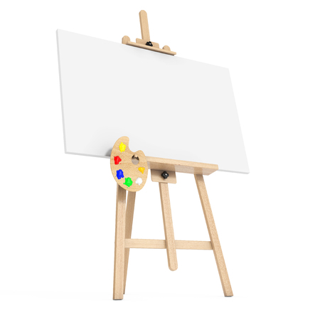 genre: Wooden Artist Easel with White Mock Up Canvas and Palette on a white background. 3d Rendering.