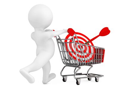 3d Person with Shopping Cart and Target as Darts on a white background. 3d Rendering.  Stock Photo