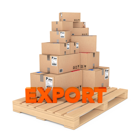 despatch: Export concept. Cardboard Boxes on Wooden Palette with Export Sign on a white background. 3d Rendering.