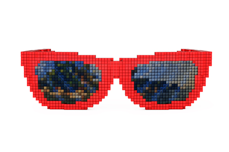 polarized: Sunglasses in Pixel Art Style on a white background. 3d Rendering.