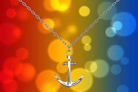 Silver Necklace with Anchor on an abstract background. 3d Rendering.