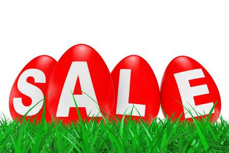 Red Easter Eggs with Sale Sign in Green Grass on a white background. 3d Rendering.