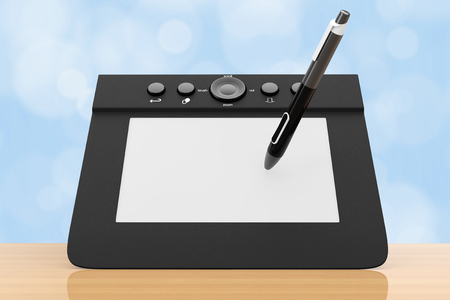 tablet pc in hand: Digital Graphic Tablet with Pen on a wooden table. 3d Rendering.