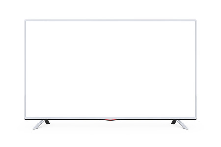 Modern Flat Led or Lcd TV on a white background. 3d Rendering.  Stock Photo