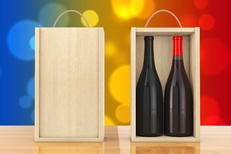 wood crate: Wine Bottles in Blank Wooden Wine pack with Handle on a wooden table. 3d Rendering.