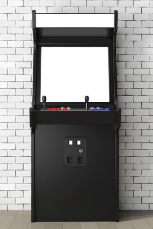 あなたのデザインのレンガ壁の前に空白の画面を持つアーケード マシンをゲームします。3 d レンダリング。