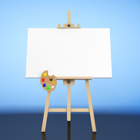 genre: Wooden Artist Easel with White Mock Up Canvas and Palette on a blue background. 3d Rendering.